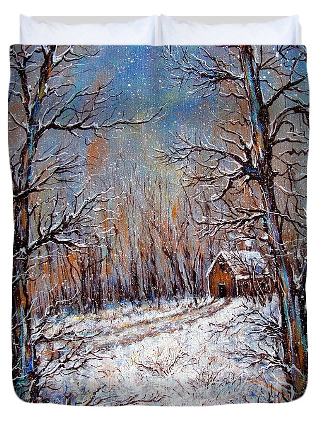 Landscape Duvet Cover featuring the painting Snowing in the Woods by Natalie Holland