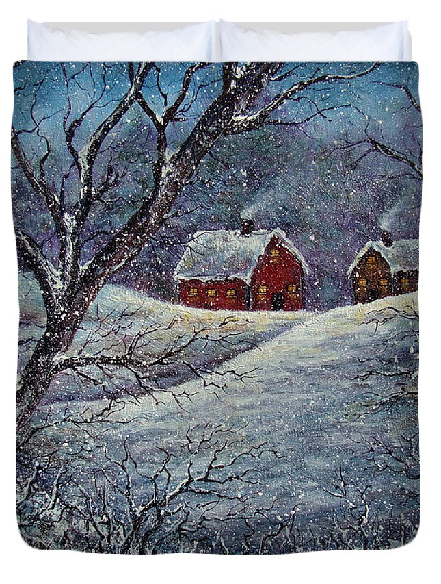 Landscape Duvet Cover featuring the painting Snowy Day by Natalie Holland