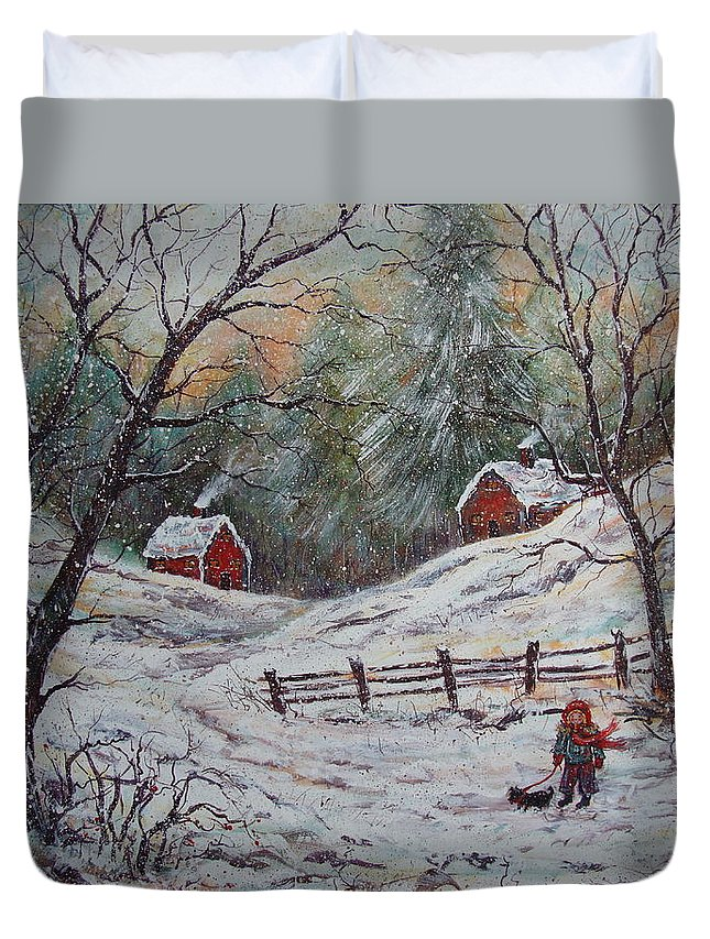 Landscape Duvet Cover featuring the painting Snowy Walk. by Natalie Holland