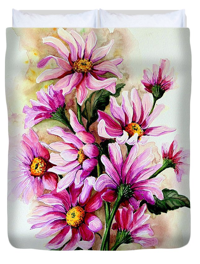 Pink Daisy Floral Painting Flower Painting Botanical Painting Bloom Painting Greeting Card Painting Duvet Cover featuring the painting So Pink by Karin Dawn Kelshall- Best
