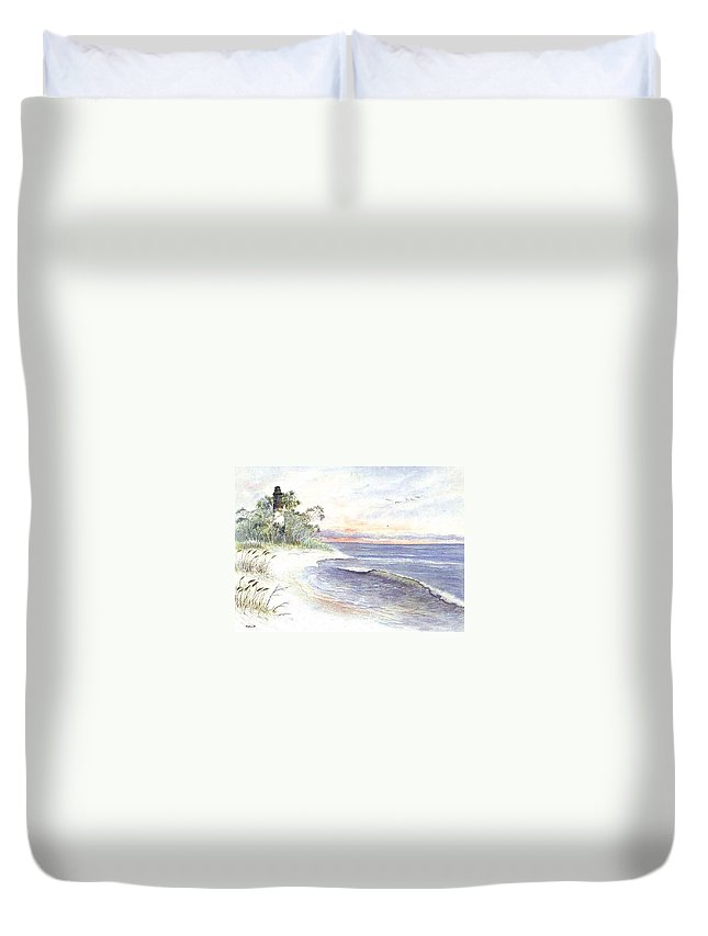 Lighthouse Duvet Cover featuring the painting Solitude by Ben Kiger
