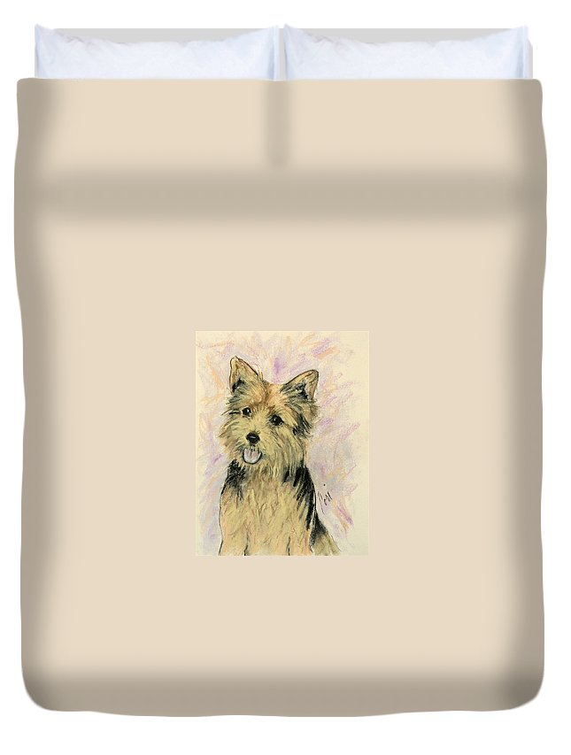 Dog Duvet Cover featuring the drawing Soulmate by Cori Solomon