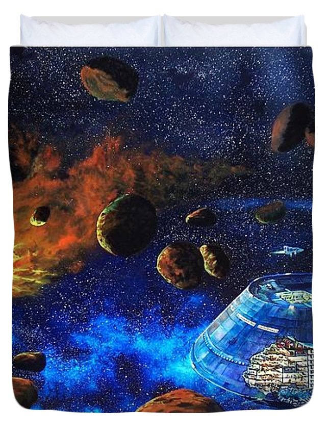 Future Duvet Cover featuring the painting Spaceship Titanic by Murphy Elliott