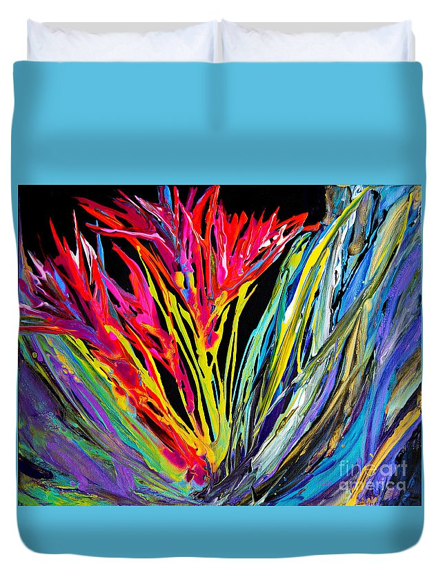 Impressionist Flowers Bright Colorful Fun Dynamic Organic Compelling Energy Overflowing Duvet Cover featuring the painting Spikey and Bright 7680 by Priscilla Batzell Expressionist Art Studio Gallery