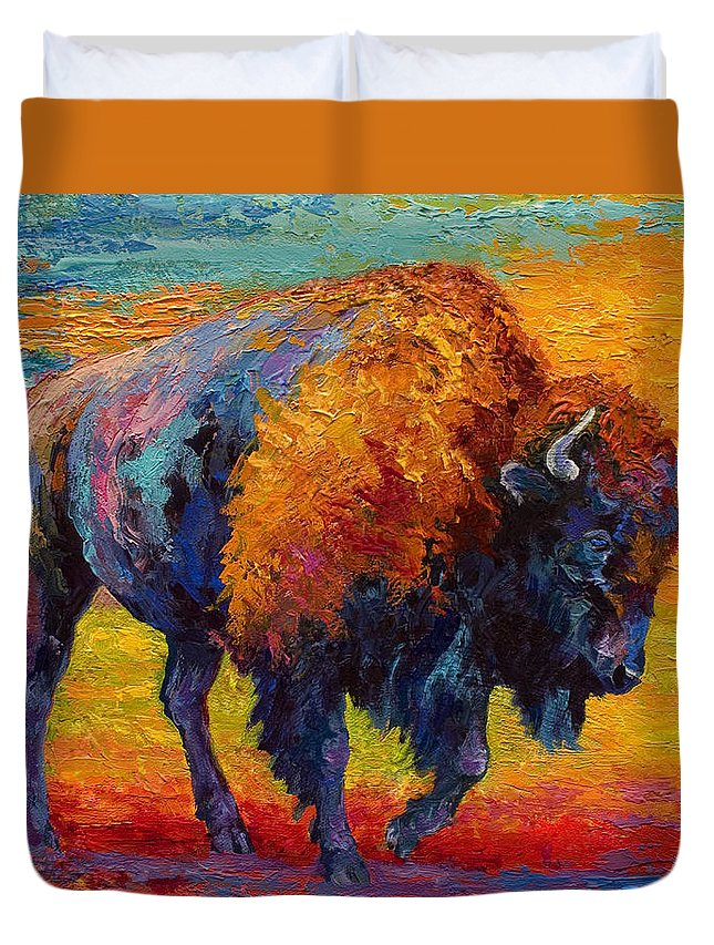 Bison Duvet Cover featuring the painting Spirit Of The Prairie by Marion Rose