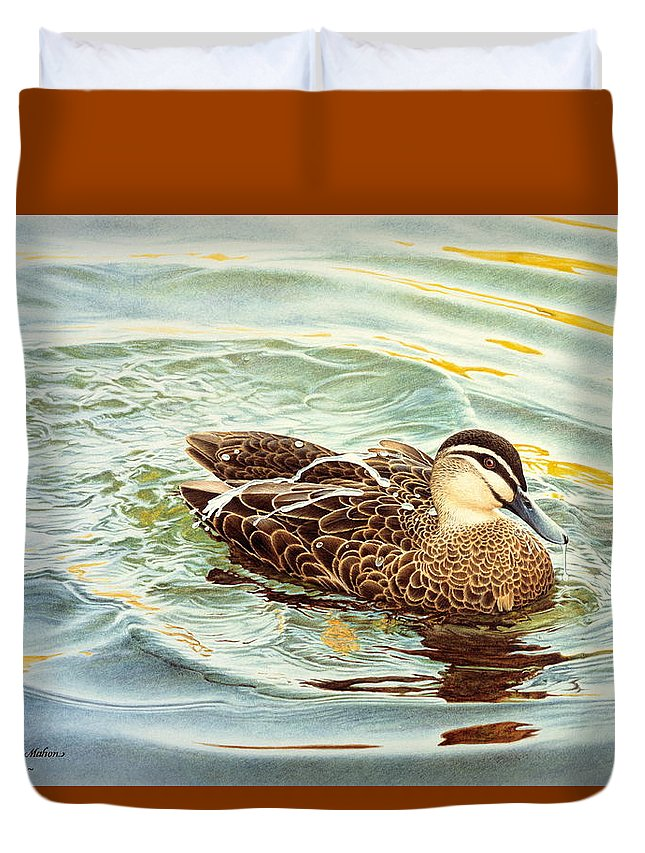 Watercolour Birds Duvet Cover featuring the painting Splash - Pacific Black Duck by Frances McMahon