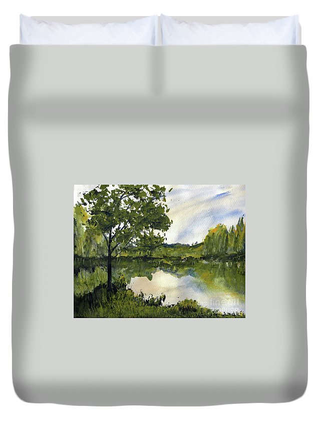 Suwannee Duvet Cover featuring the painting Spring Comes Slowly on the Suwannee River by Randy Sprout