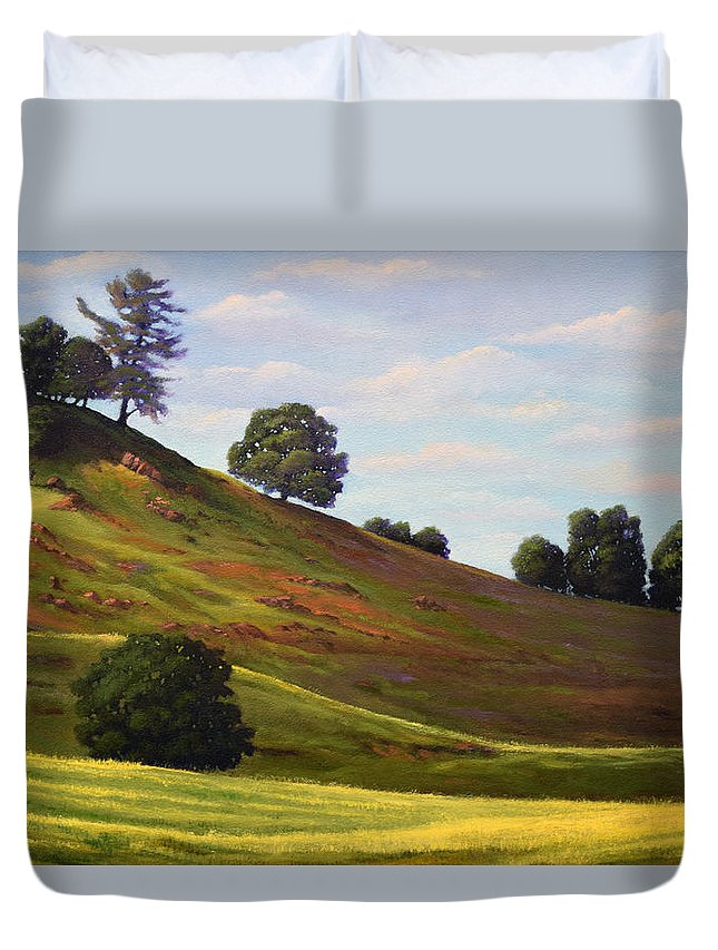 Landscape Duvet Cover featuring the painting Spring Day by Frank Wilson
