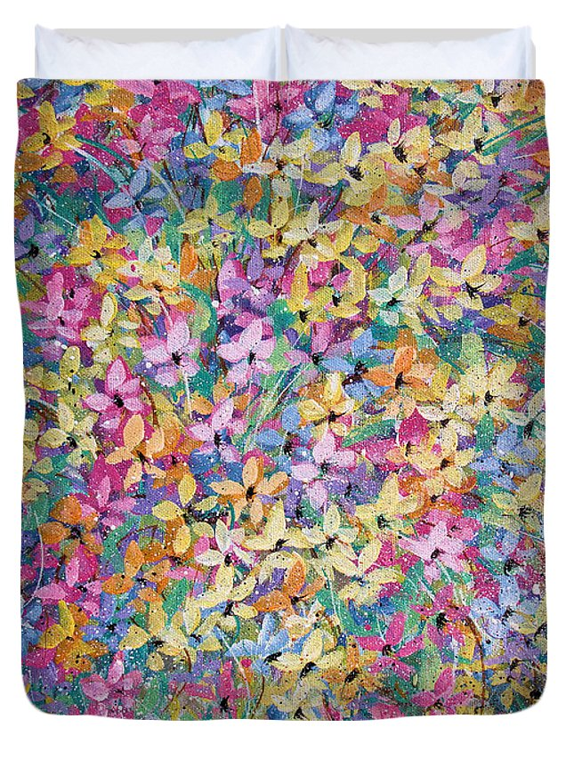 Flowers Duvet Cover featuring the painting Spring floral bouquet. by Natalie Holland