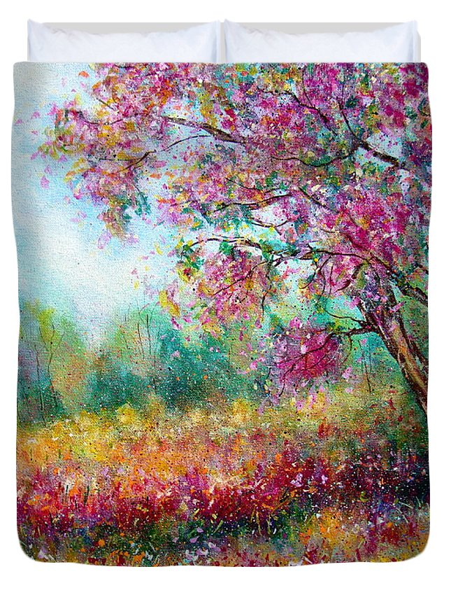 Landscape Duvet Cover featuring the painting Spring by Natalie Holland