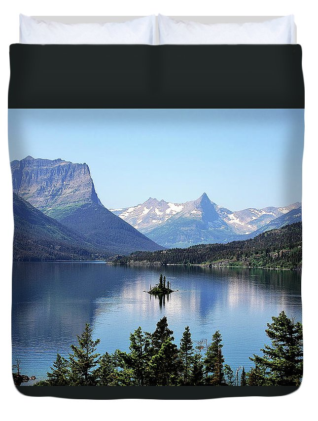 St Mary Lake Duvet Cover featuring the photograph St Mary Lake - Glacier National Park MT by Alexandra Till