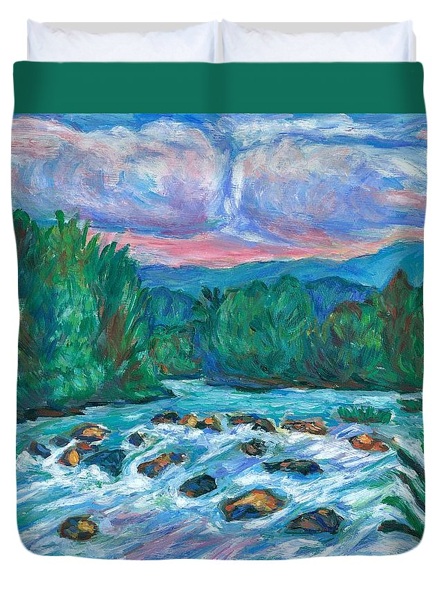 Landscape Duvet Cover featuring the painting Stepping Stones on the New River by Kendall Kessler