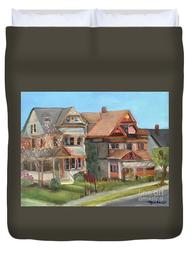 Stockton Street Duvet Cover featuring the painting Stockton Street by Sheila Mashaw