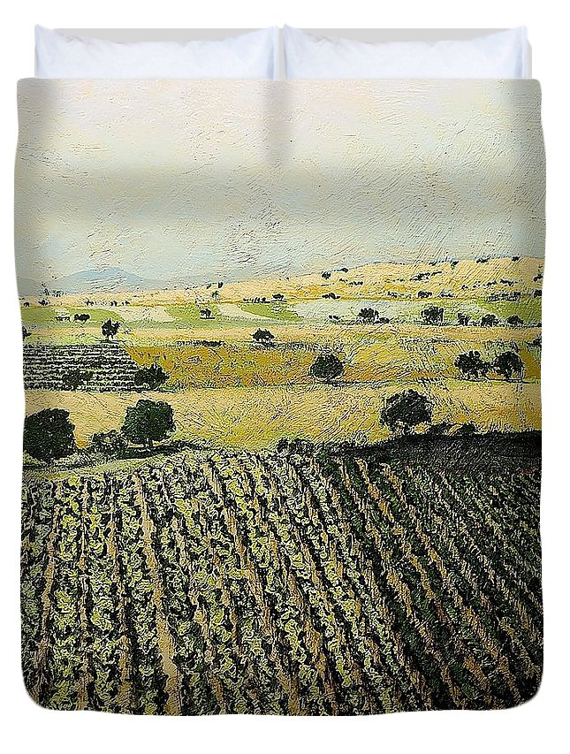 Landscape Duvet Cover featuring the painting Storms Over by Allan P Friedlander
