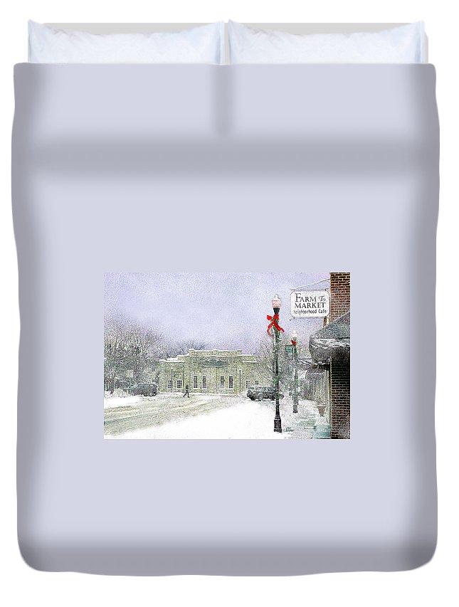 Snow Scene Duvet Cover featuring the photograph Strang Car Barn in Winter by Steve Karol