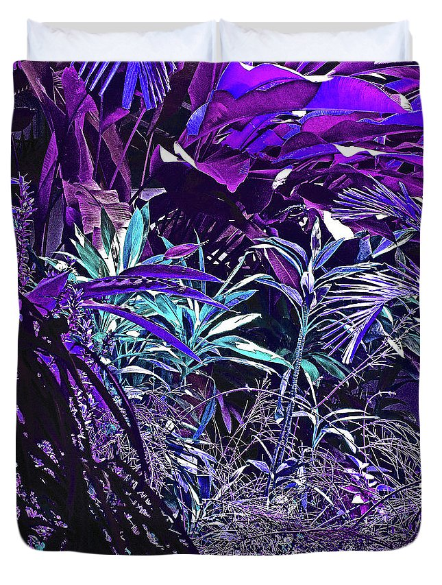 Pink Duvet Cover featuring the photograph Strange Jungle by Ian MacDonald