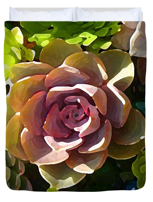 Succulent Duvet Cover featuring the painting Succulent Pond 3 by Amy Vangsgard