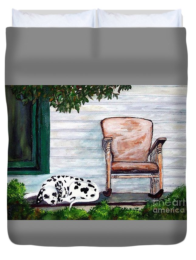 Dog Duvet Cover featuring the painting Summer Evening by Jacki McGovern