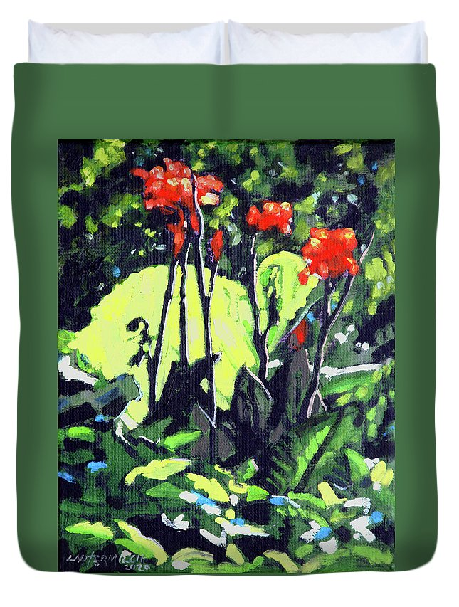 Flowers Duvet Cover featuring the painting Summer Sunlight by John Lautermilch