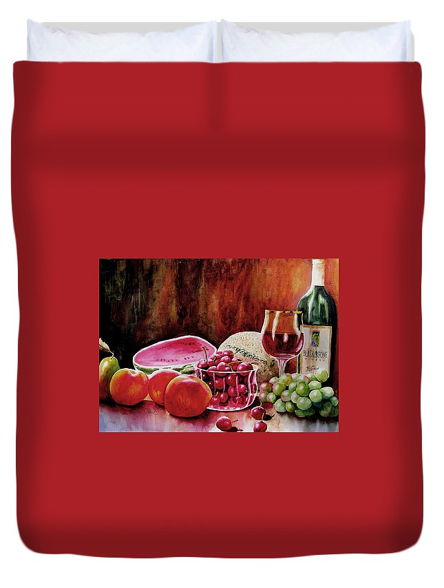 Wine Duvet Cover featuring the painting Summer Syrah by Karen Stark