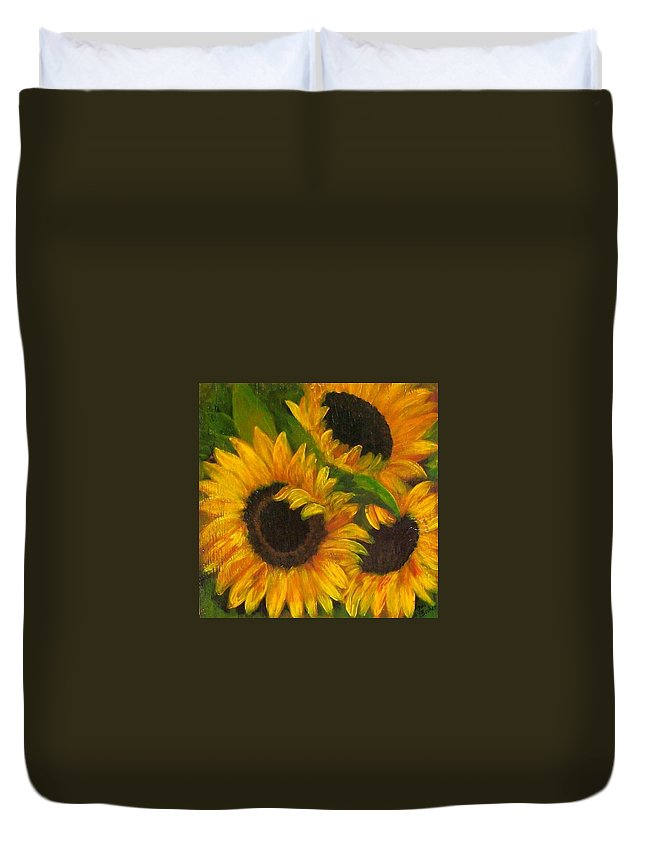 Sunflower Painting Duvet Cover featuring the painting Sunflowers by Tami Booher