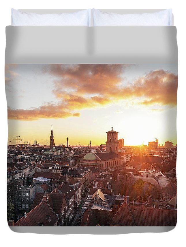City Duvet Cover featuring the photograph Sunset above Copenhagen by Hannes Roeckel
