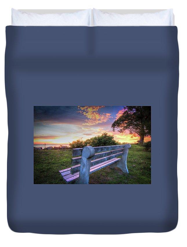 Bench Duvet Cover featuring the photograph Sunset Bench by Eden Watt