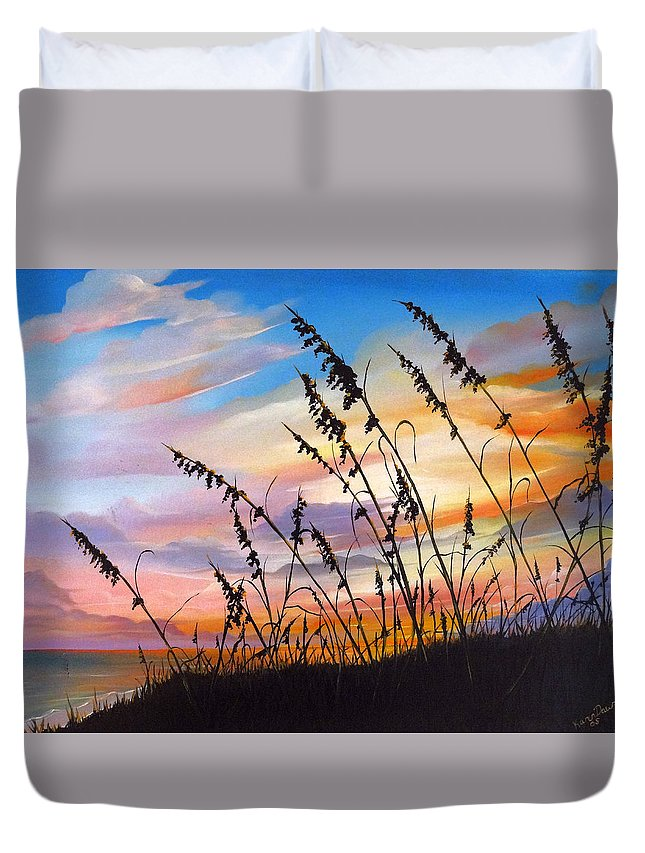 Ocean Painting Duvet Cover featuring the painting Sunset Fort Desoto Beach by Karin Dawn Kelshall- Best