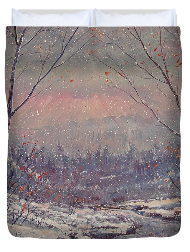 Landscape Duvet Cover featuring the painting Sunset In Winter. by Leonard Holland