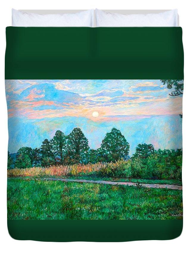 Kendall Kessler Duvet Cover featuring the painting Sunset Near Fancy Gap by Kendall Kessler