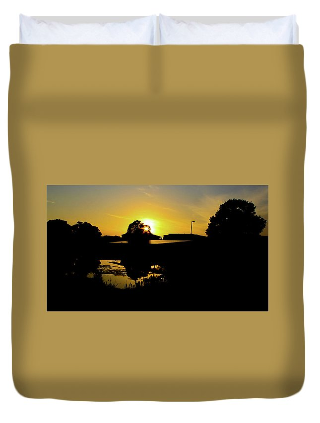 Landscape Duvet Cover featuring the digital art Sunset over Building by Daniel Cornell