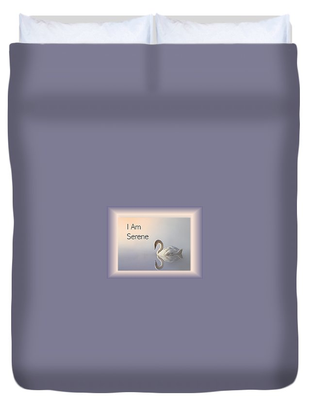 Swan Duvet Cover featuring the photograph Swan I Am Serene by Nancy Ayanna Wyatt and PixxlTeufel