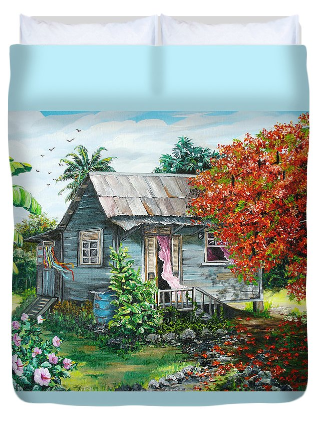 Caribbean Painting Original Painting Trinidad And Tobago ..house Painting Flamboyant Tree Painting Red Blossoms Painting Floral Painting Tree Painting Tropical Painting Duvet Cover featuring the painting Sweet Tobago Life. 2 by Karin Dawn Kelshall- Best