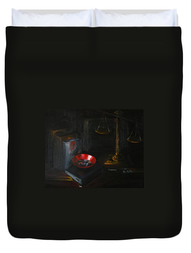 Art Duvet Cover featuring the painting Symbols Of Life by Patricia Awapara