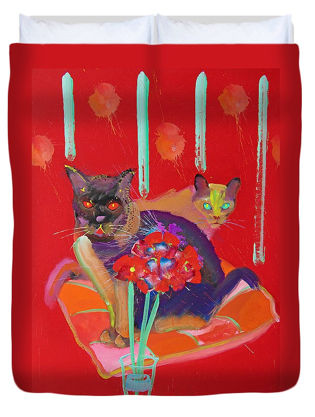 Burmese Cat Duvet Cover featuring the painting Symphony In Red Two by Charles Stuart