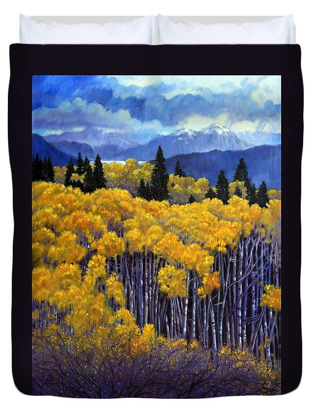 Snow Clouds Over Rocky Mountains Duvet Cover featuring the painting Tall Aspens by John Lautermilch