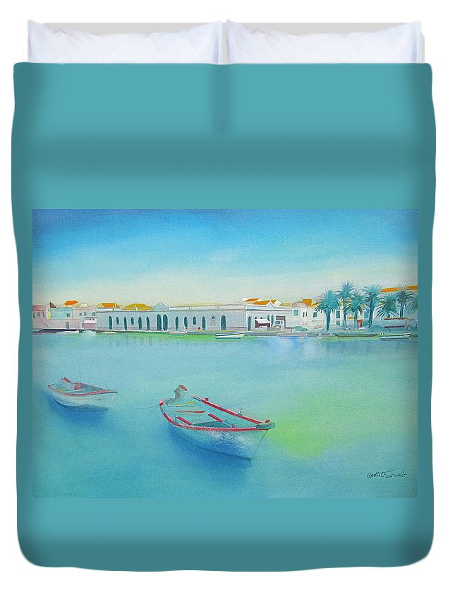 Boat Duvet Cover featuring the painting Tavira Portugal the Old Market by Charles Stuart