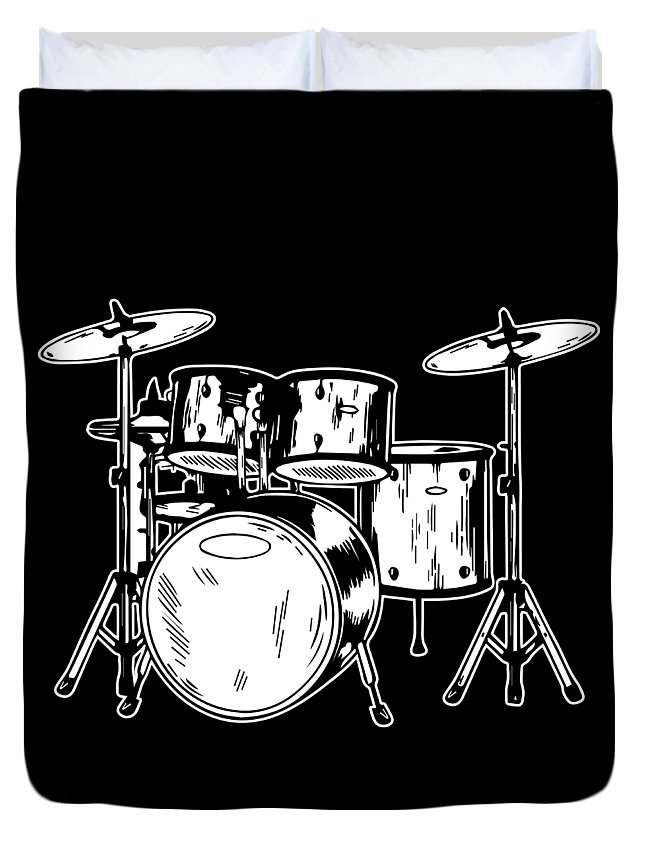 Drummer Duvet Cover featuring the digital art Tempo Music Band Percussion Drum Set Drummer Gift by Haselshirt