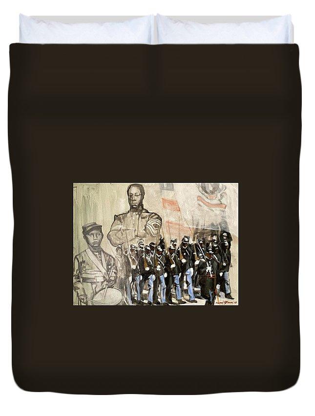 Black Civil War Regiment; Civil War; Black Infantry; Black Soldiers; All Black Infantry Regiments; 54th Massachusetts Infantry Regiment; 54 Massachusetts Duvet Cover featuring the painting The 54th Massachusetts by Howard Stroman