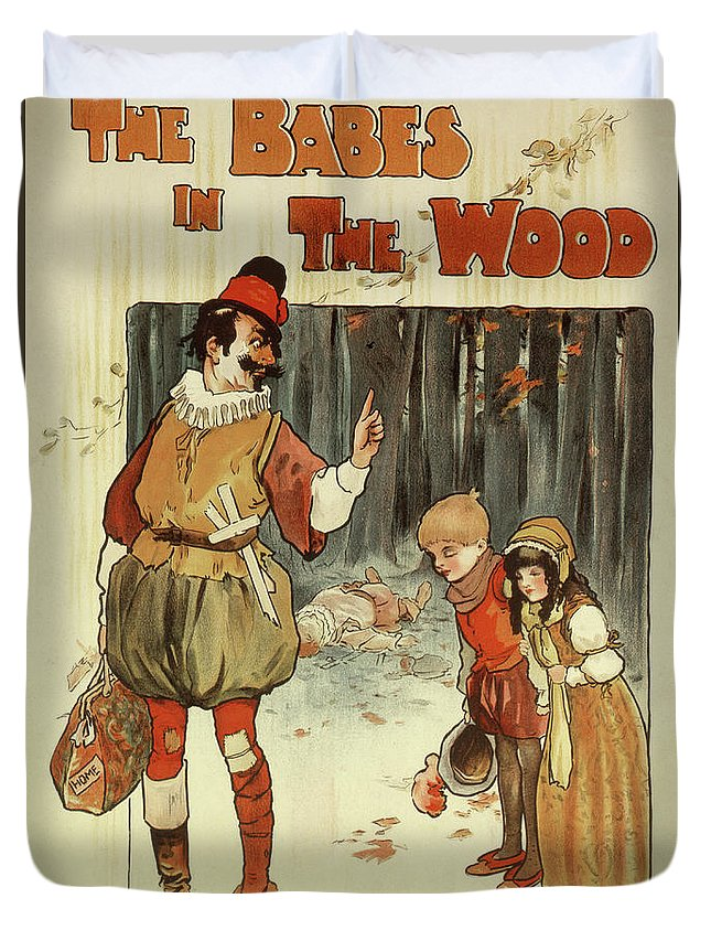 Babes Duvet Cover featuring the painting The Babes In The Wood Vintage Theater Poster by English School