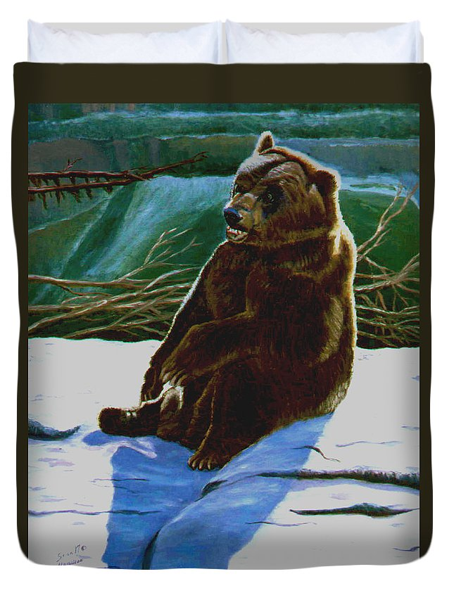 Original Oil On Canvas Duvet Cover featuring the painting The Bear by Stan Hamilton
