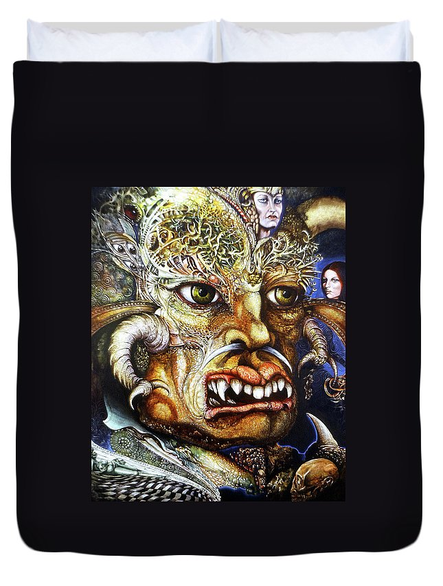 Surrealism Fantastic+realism Mythology Myth Beast Religion Duvet Cover featuring the painting The Beast Of Babylon II by Otto Rapp