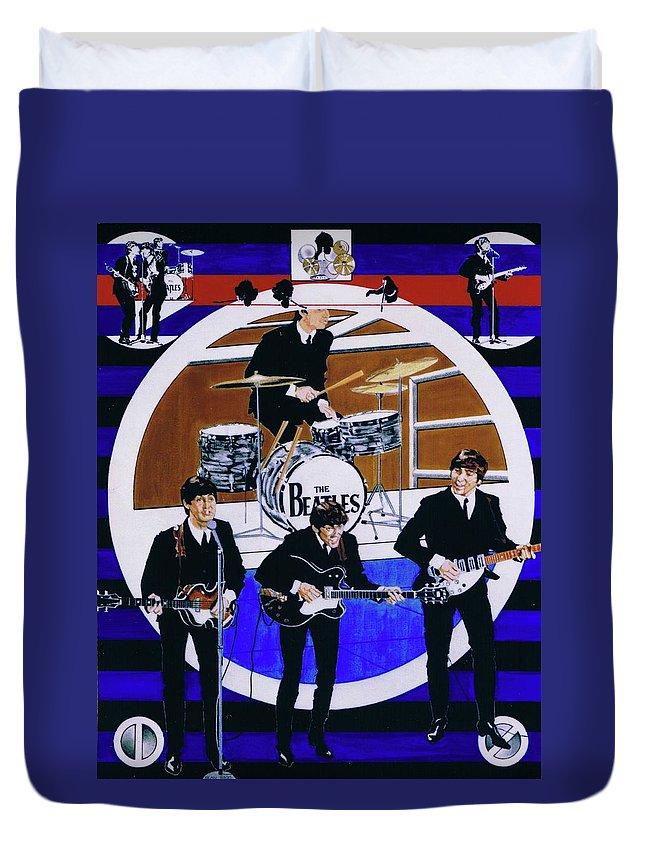 The Beatles Live Duvet Cover featuring the drawing The Beatles - Live On The Ed Sullivan Show by Sean Connolly