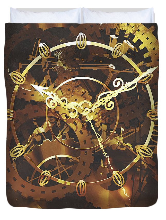 Acrylic Duvet Cover featuring the painting The Big Golden Clockwork by Tithi Luadthong