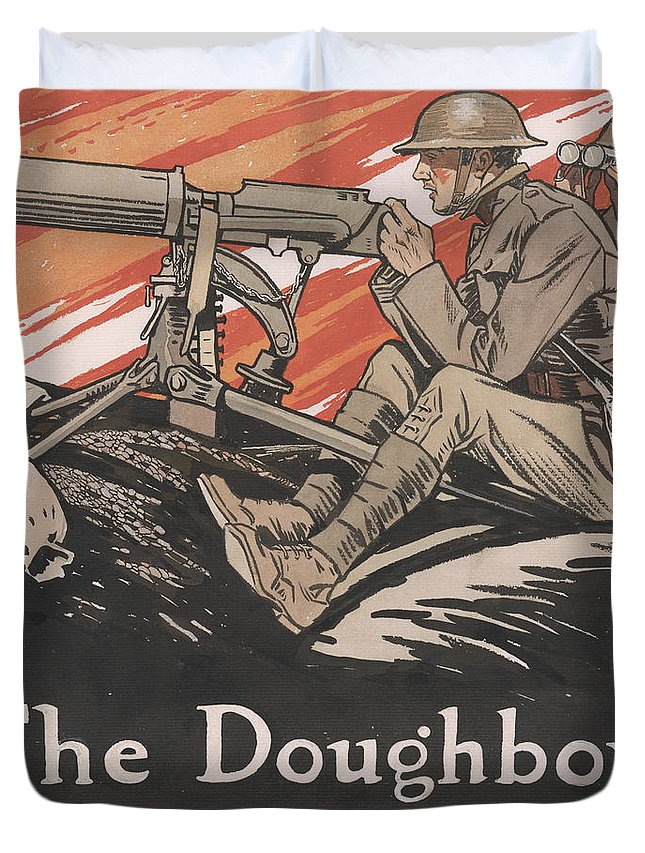 Doughboys Duvet Cover featuring the painting The Doughboys make Good, 1918 by Edward Penfield