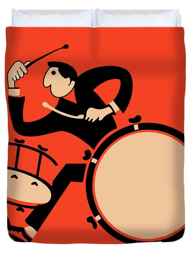 Drum Duvet Cover featuring the photograph The Drummer by Mark Rogan