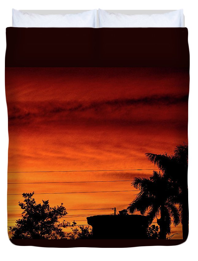 Sunset Duvet Cover featuring the photograph The Fire sky by Daniel Cornell