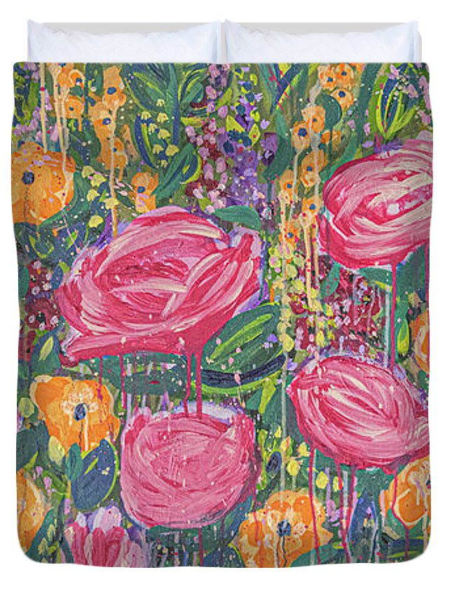 English Garden Duvet Cover featuring the painting The Garden by Amanda Armstrong