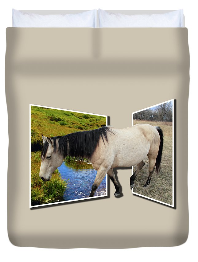Horse Duvet Cover featuring the photograph The Grass Is Always Greener On The Other Side by Shane Bechler