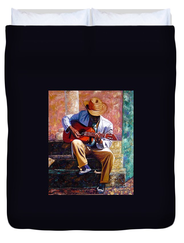 Cuban Art Duvet Cover featuring the painting The Guitar Player by Jose Manuel Abraham